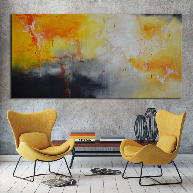 """Hello Sunshine,  yellow abstract painting 60""""x30"""" ready to hang - Image 0"""