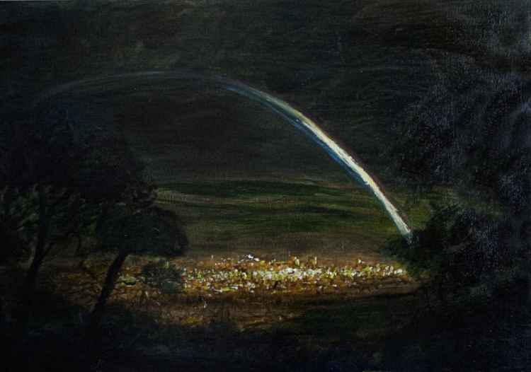 View of Mansfield Town after a Storm (Oil on board 30x30 inch)  -