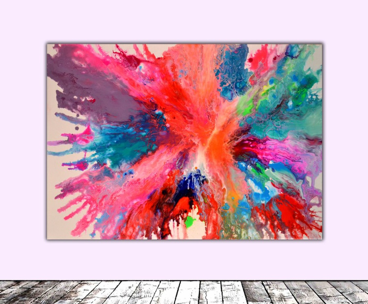 Fly on the Windscreen -  Abstract Painting, Modern Fauve Neogestural  - Ready to Hang, Office, Home, Hotel and Restaurant Wall Decoration - Image 0