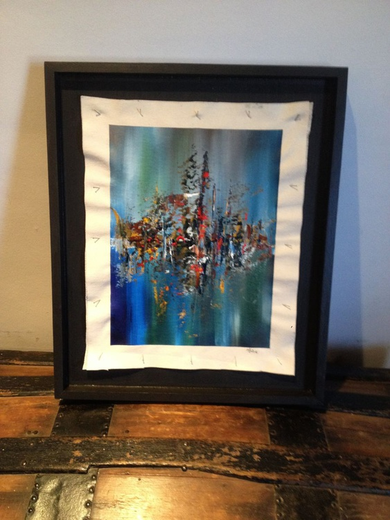 Walk by the Lake - Original One of a Kind Abstract Landscape Oil Painting - Image 0