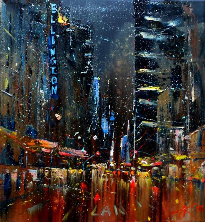 Night city, original oil painting 65x70 cm, ready to hang! - Image 0