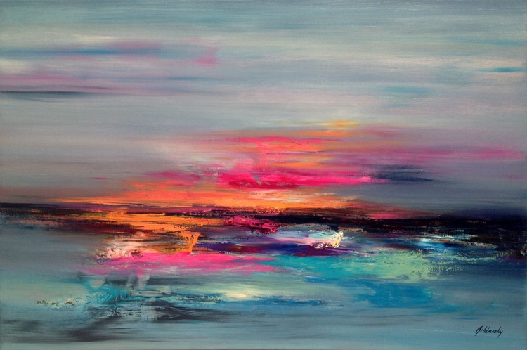 Glimpse of Heaven - 60 x 90 cm abstract landscape oil painting in pink, orange blue and grey - Image 0