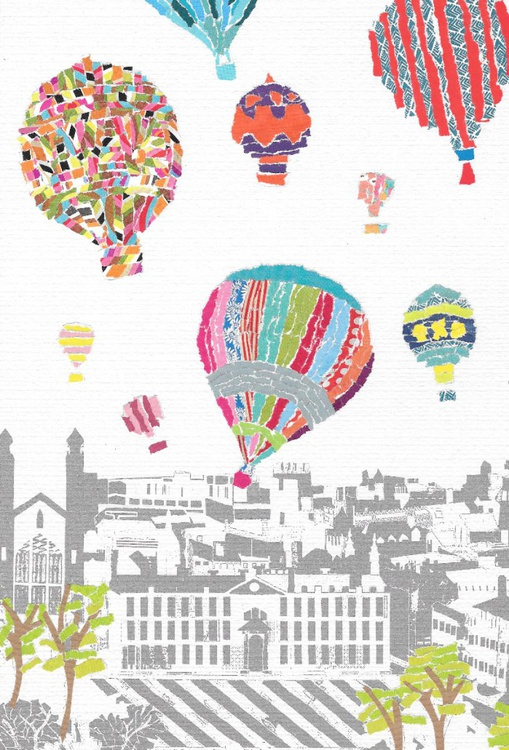 Hot Air Balloons Over Cambirdge - Hand Torn Collage - Image 0