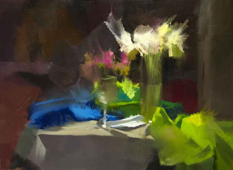 Still life Oil Painting- A Line of Green Shades -