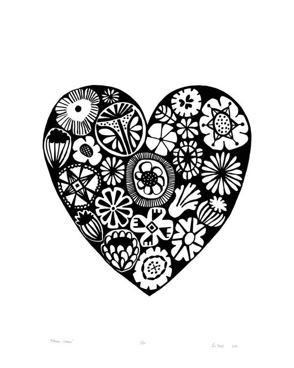 Flower Heart in Black - Unframed - FREE Worldwide Delivery - Image 0