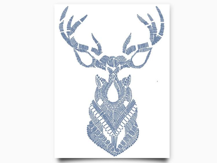 Deer Print 8 x 10 Drawing - Image 0
