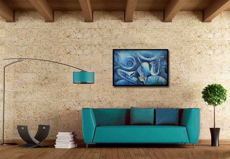 Blue melody, Modern painting, free shipping - Image 0