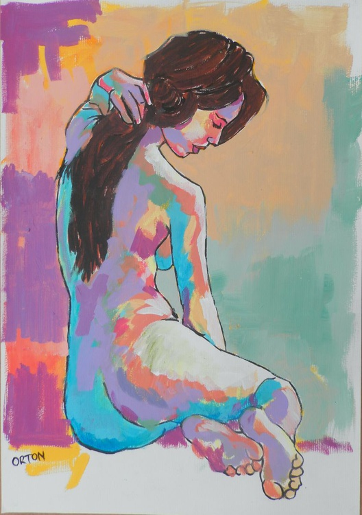 Female Nude Original Painting Seated Acrylic Abstract Female Figure Study Life Drawing - Image 0