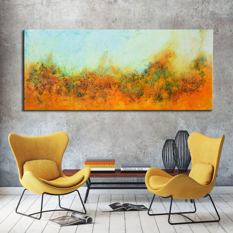 Red Mountain - Large Original Abstract Landscape Painting with blue and rust - Image 0