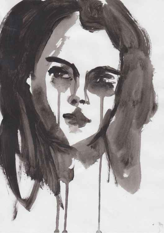 Original Minimal Black and White Portrait Painting