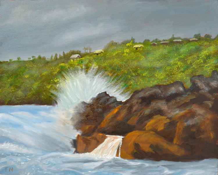Stormy day at Laupahoehoe - coastal landscape - plein air painting -
