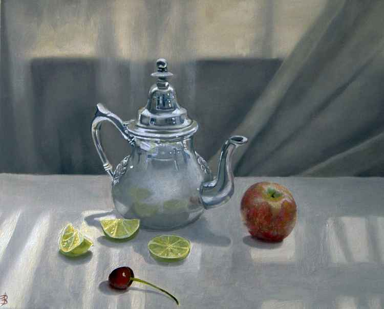 Silver Teapot with Fruit -