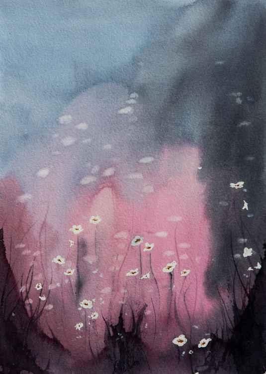 """morning white"", original watercolour painting, 11.4""x 15.4""(28.5x38.5cm)"
