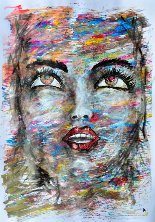 Abstract Girl Face - Acrylic Abstract Art Painting - Image 0