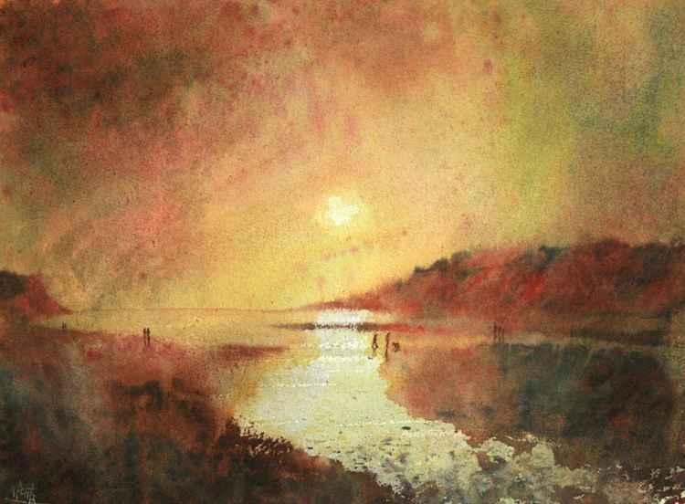 Wonwell Beach, River Erme Estuary, South Devon at sunset