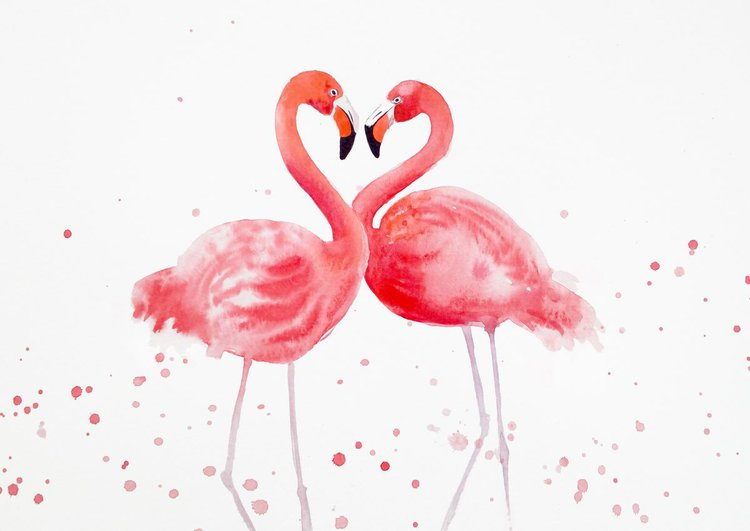Flamingo Heart - Two Pink Flamingos, Love, Roman | Artfinder