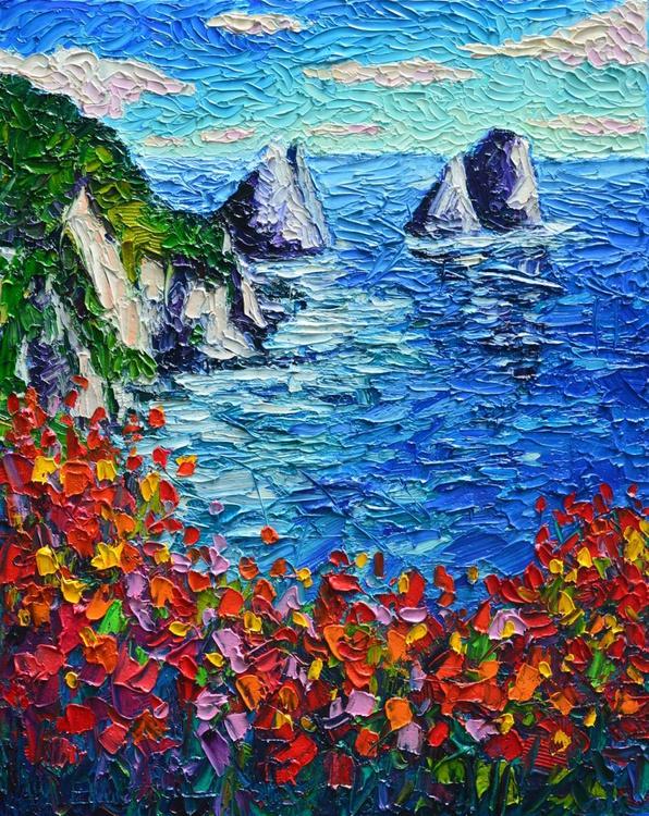 ITALY SEASCAPE - CAPRI ISLAND FARAGLIONI - modern impressionist palette knife oil painting Mediterranean vibrant colors - Image 0