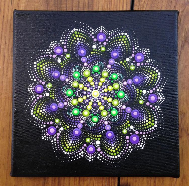 Purple and Green Dotart Mandala Painting on Canvas 20x20 cm - Image 0