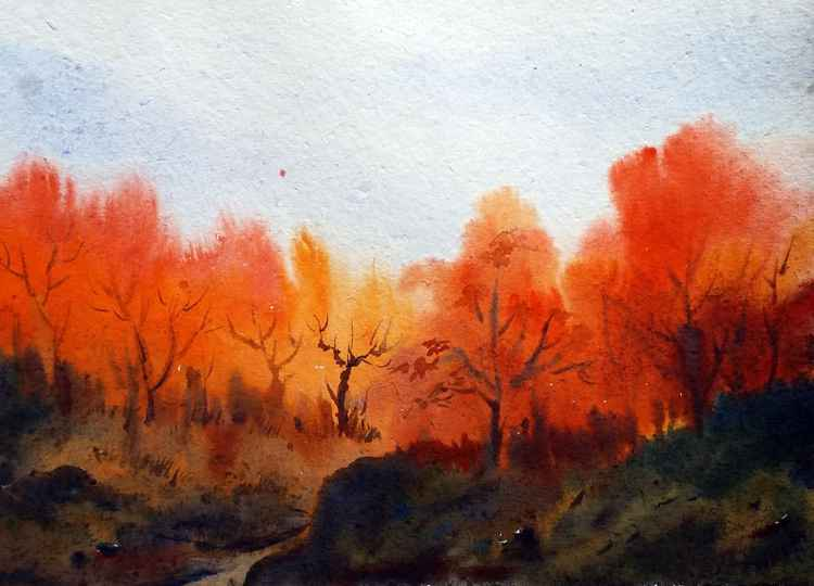 Autumn Mountain Forest - Watercolor on Paper Painting