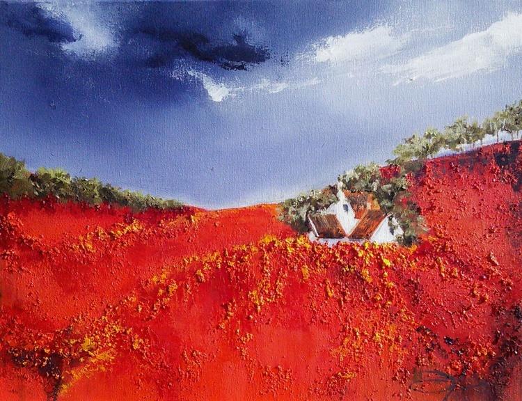 Farm hous on the poppy field - Image 0
