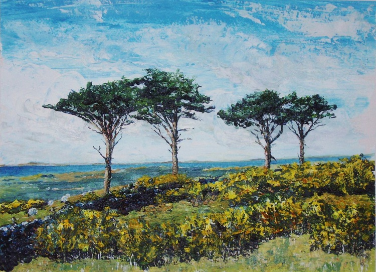 Pines, Sheep and Gorse, Sky Hill - Isle of Man - Image 0