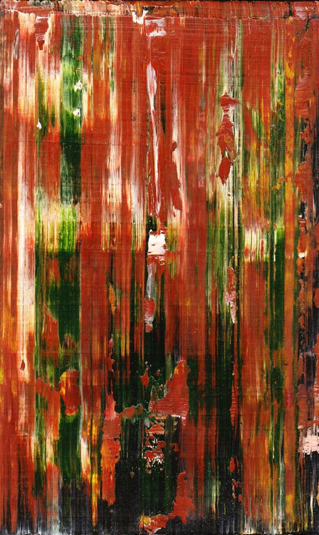 Red-Green Drag - Dragged paint abstract - Image 0