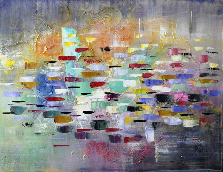 Clash - Abstract Acrylic Art Painting - 28x35 inch, 2015 -
