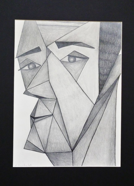 A portrait of a man in triangles - Image 0