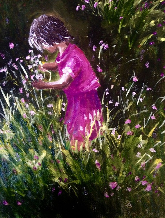Girl picking flowers - Image 0