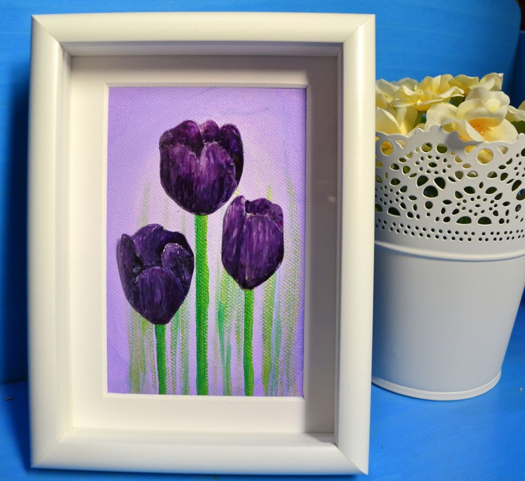 Upcycled plastic bottle art- Violet Tulips - Image 0