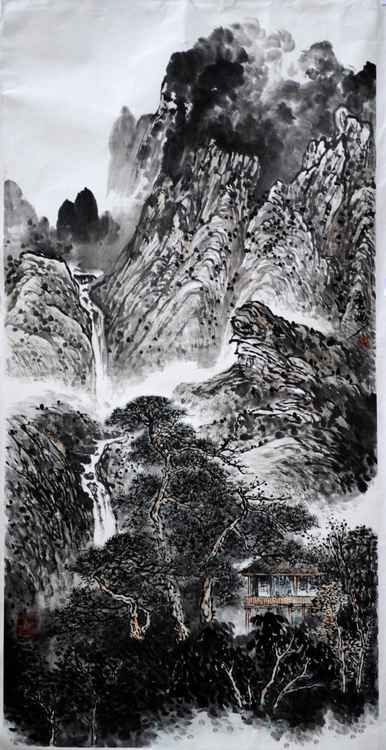 Chinese watercolour Landscape paining-13