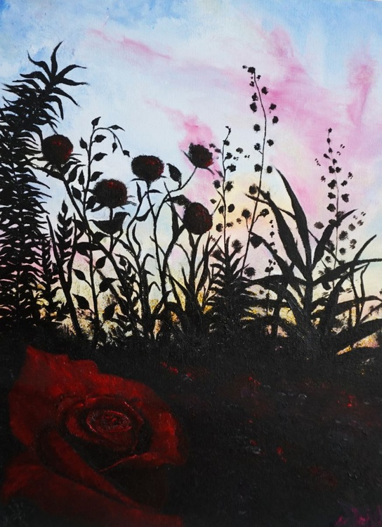 Sunset with roses - Image 0