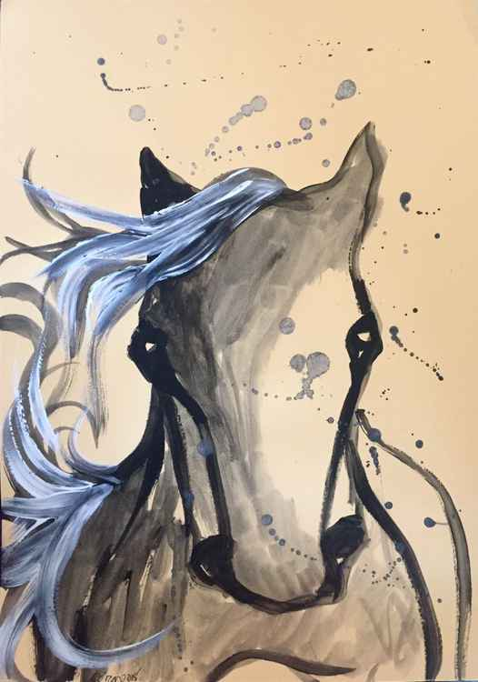 Original watercolor serie horses 2015