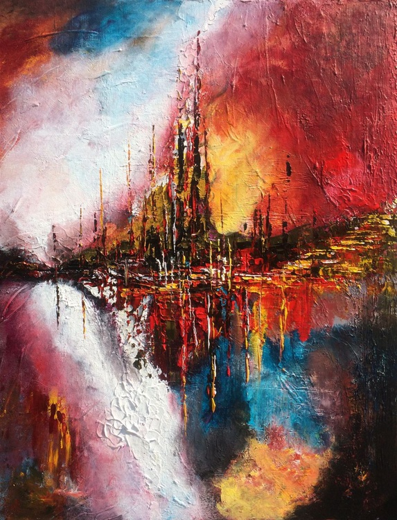 """""""Paradise"""" ,  Large Abstract Acrylic Painting - 28x36inches - Image 0"""