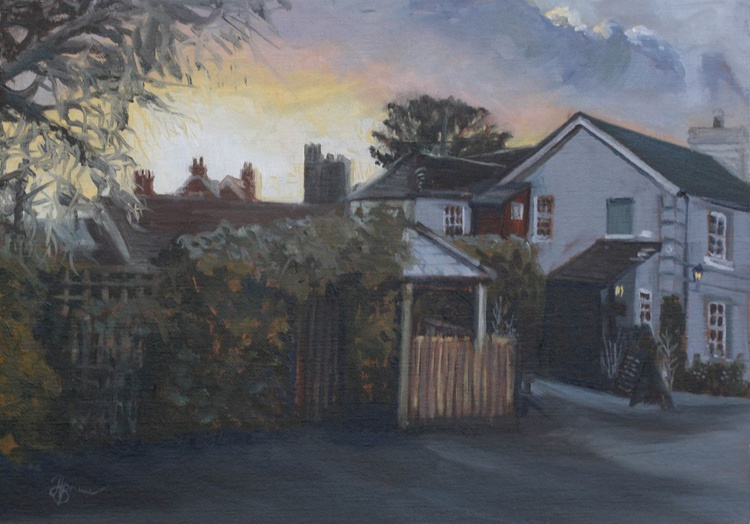 Sunrise behind the Red Lion, Horsell, Woking - Image 0