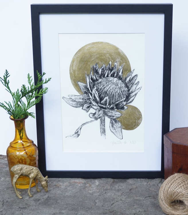 Original Protea and Gold Detail Etching and Ink Artwork Print Limited Edition of 20 - Image 0