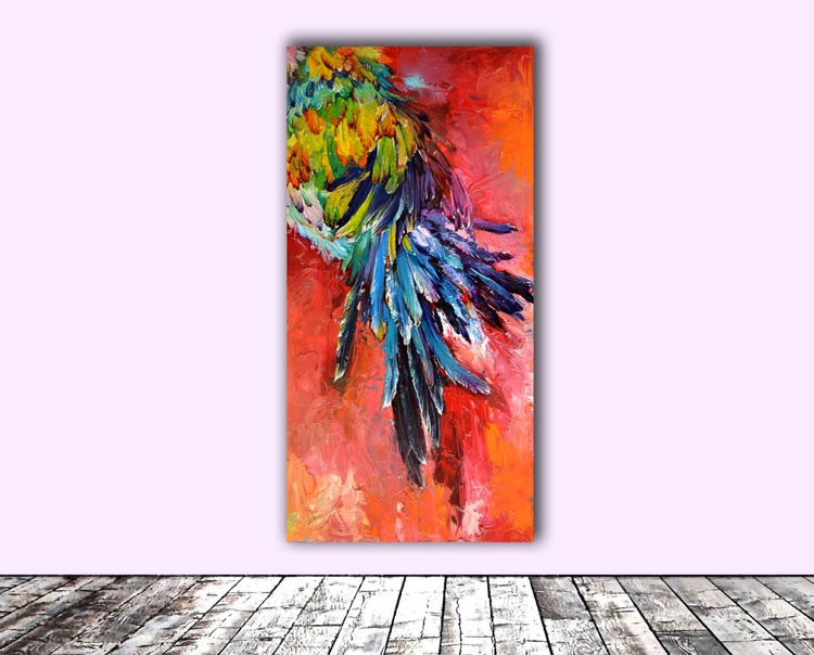 Trace - Big, FREE SHEPING, Large Modern Ready to Hang Abstract Feathers Painting - Image 0