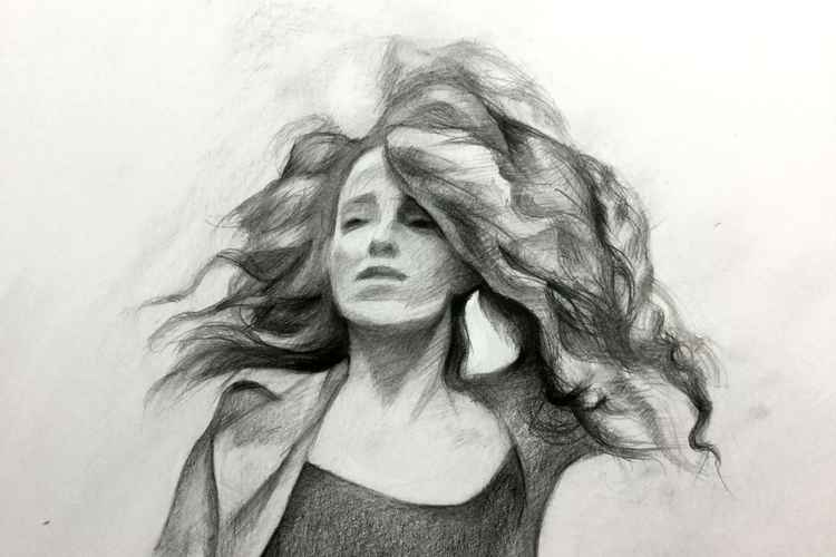 Running girl (pencil sketch) -