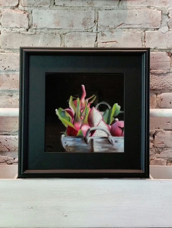 Dragon Fruits, Still life oil painting - Image 0