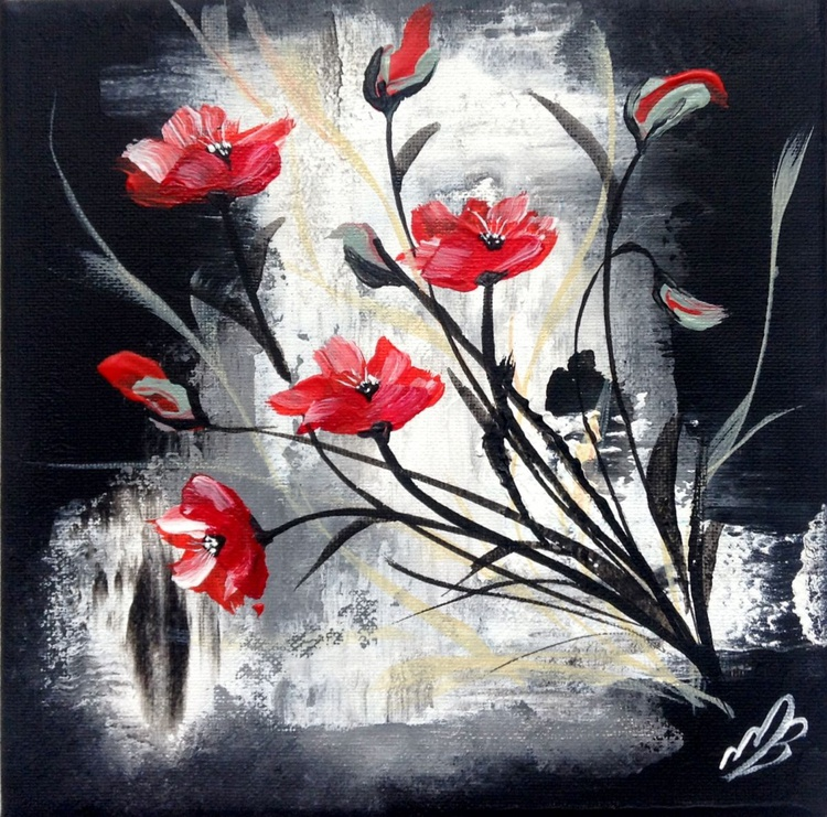 Red Poppies on a textured wall - Image 0