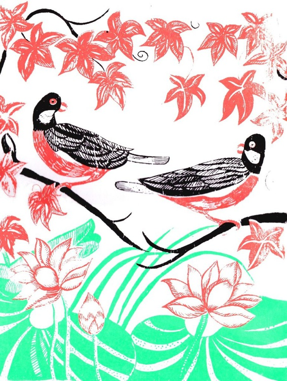 Oriental Birds and Lillies Screenprint - Image 0