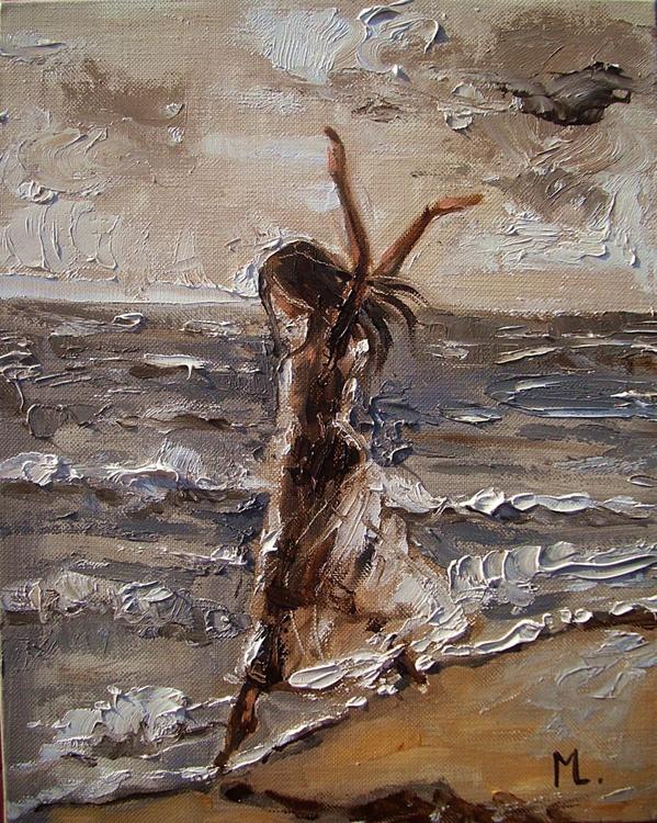""" WAVES OF CHANGES ... "" original painting palette knife GIFT MODERN URBAN ART OFFICE ART DECOR HOME DECOR GIFT IDEA - Image 0"