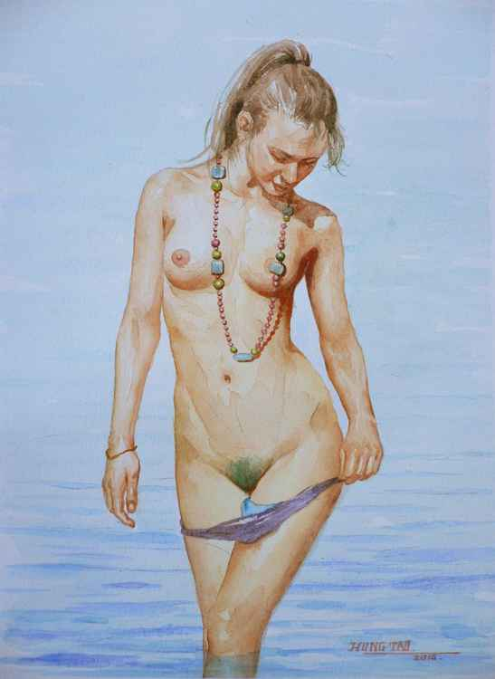original art watercolour painting female nude girl on paper #16-4-29-01 -