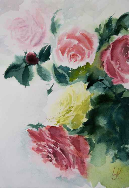 """bouquet of roses"", original watercolour painting, 10""x14.2""(25x35cm) -"