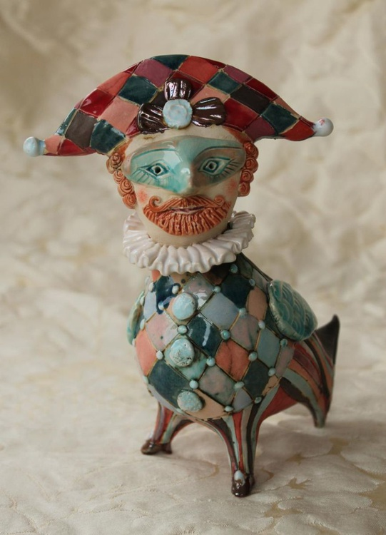 Ginger Beard Bird. Ceramic sculpture - Image 0