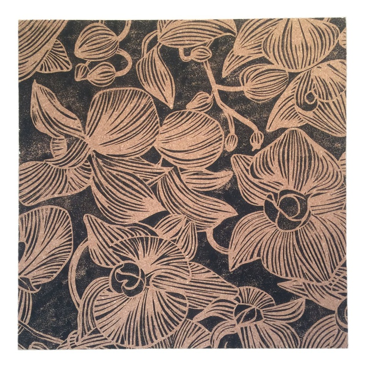 Orchid study on wood - Image 0