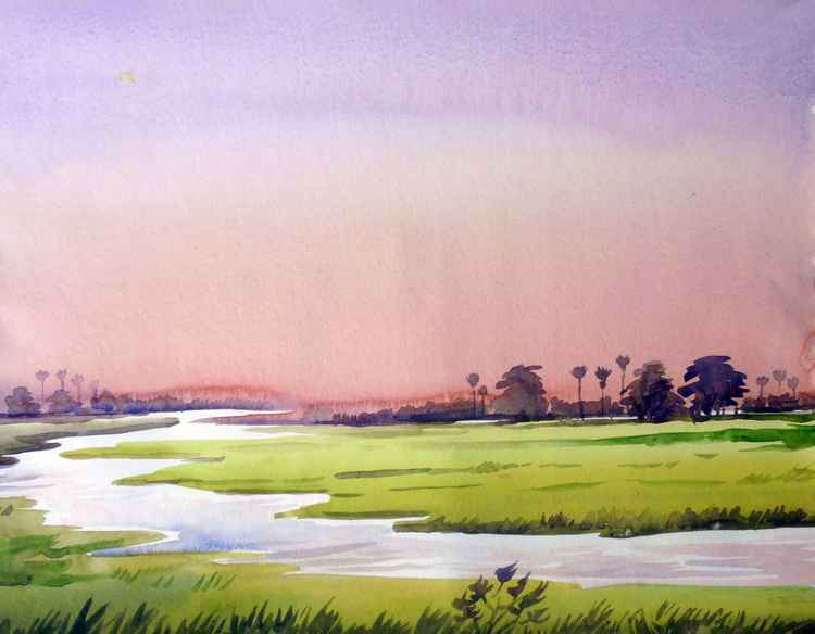 Rural Sunrise - Watercolor Painting -