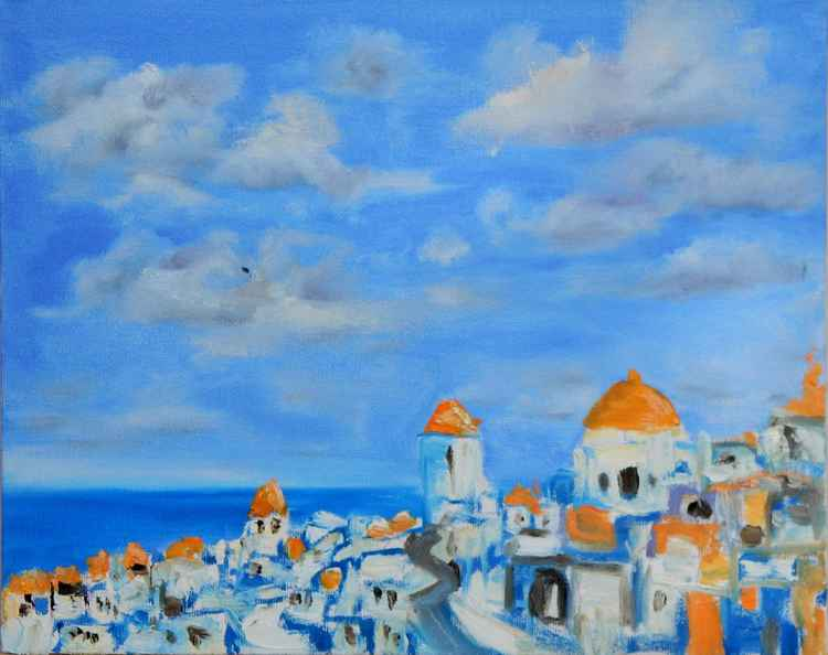 Seascape. Greek cityscape.