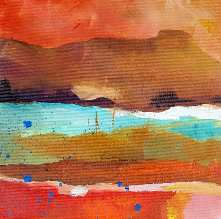 Three miniature oil painting together: Abstract Landscape - Image 0