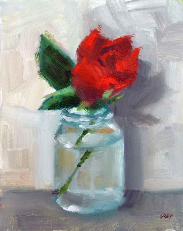 One rose in jar.